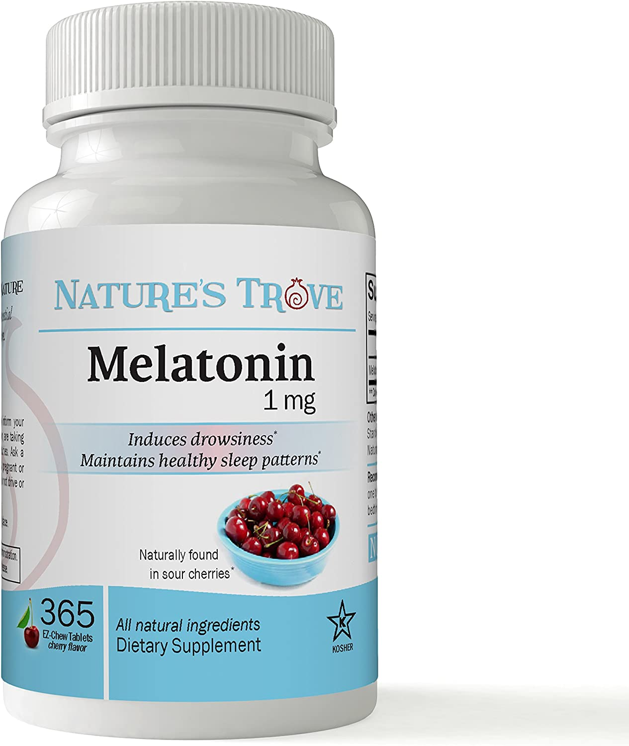 Melatonin 1mg by Nature's Trove - 365 EZ-Chew Tablets Cherry Flavor