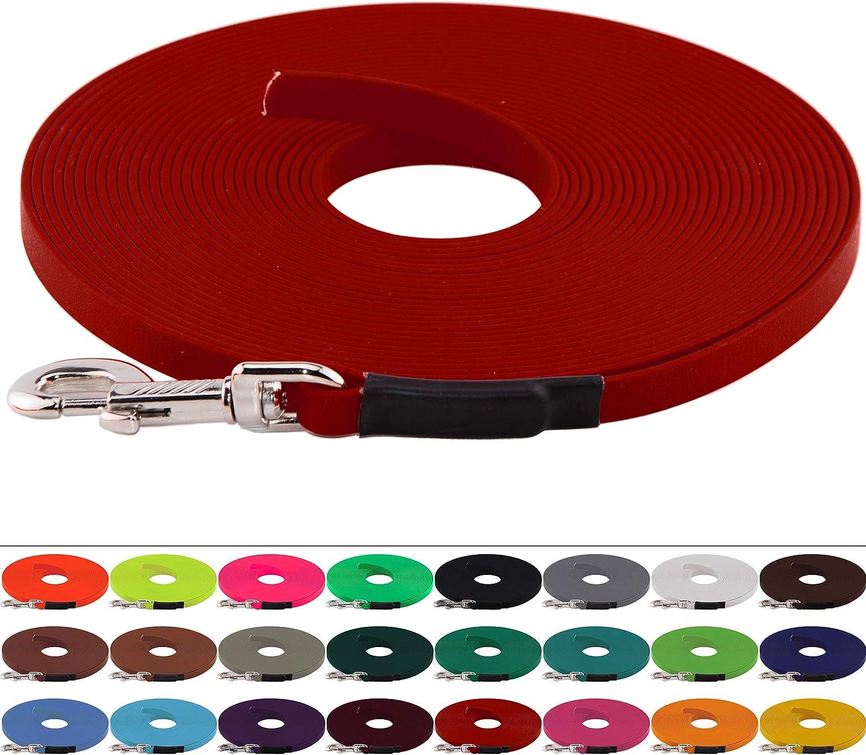 ohne Handschlaufe 9 mm breit bis zu 30 Meter L/änge gen/äht in vielen Farben BioThane Schleppleine f/ür Hunde 5-15kg