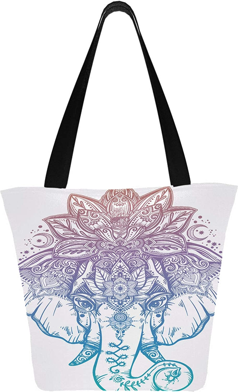 Elefante con corona de mandala de loto adornada de 11 x 7 x 13 pulgadas, lavable a máquina, resistente, de poliéster, bolsa de supermercado, plegable, reutilizable, para carrito de comp