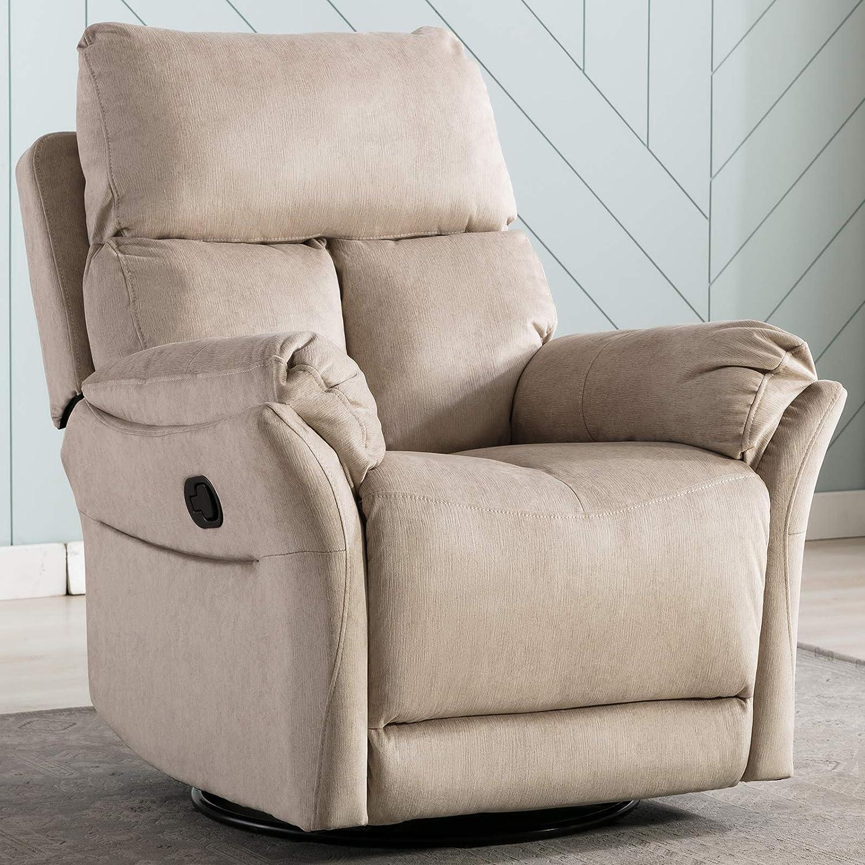 ANJ Swivel Rocker Recliner Chair – Reclining Chair Manual, Single Modern Sofa Home Theater Seating for Living Room, Buff