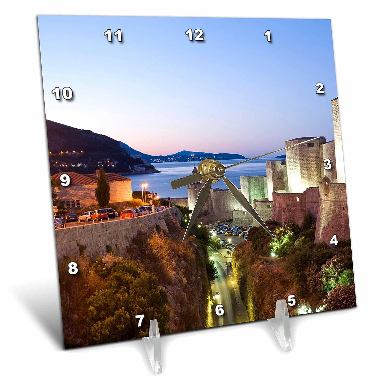 3drose Dc 82707 1 Walled City 6 By 6 Inch Dubrovnik Croatia Eu32 Sws0030 Stuart Westmorland Desk Clock Adriatic Sea Home Décor Desk Shelf Clocks