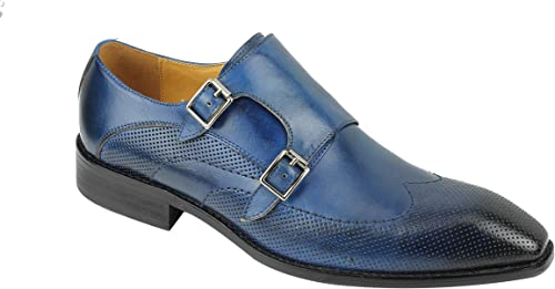 Xposed Mens Navy Blue Real Leather Retro Twin Buckle Monk Strap Smart Casual Formal Shoes