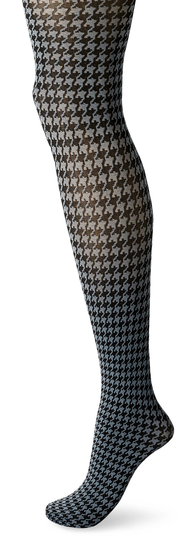 Hue Women's Houndstooth Tights with Control Top, Thunder, Medium/Large