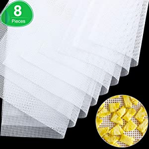 8 Pieces Square Silicone Dehydrator Sheets, Non-stick Food Fruit Dehydrator Mats Reusable Steamer Mesh Mat for Fruit Dryer