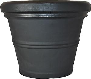 Tusco Products RR135BK Rolled Rim Garden Pot Planter, Black