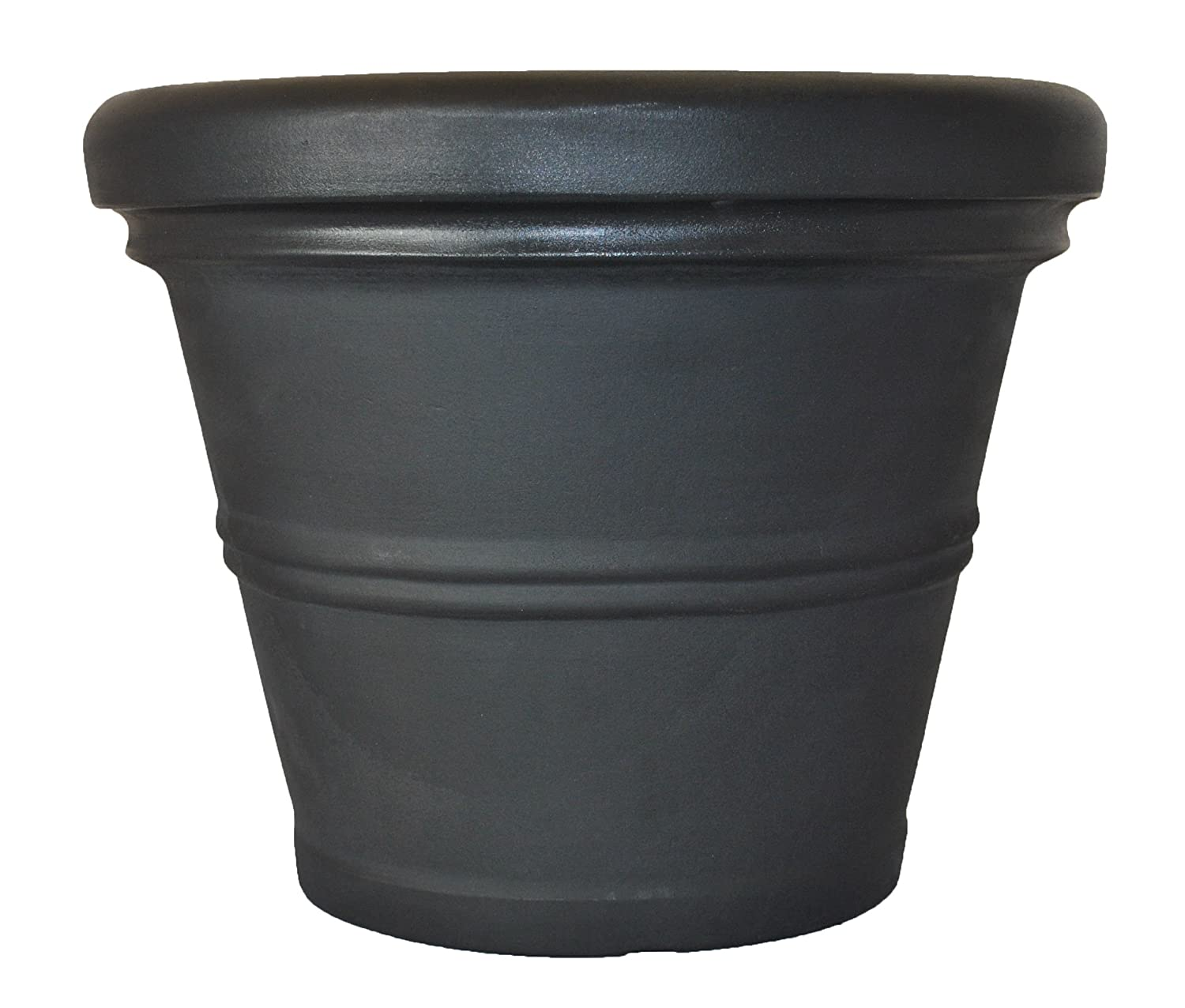 Tusco Products RR30BK Rolled Rim Garden Pot, 30-Inch, Black