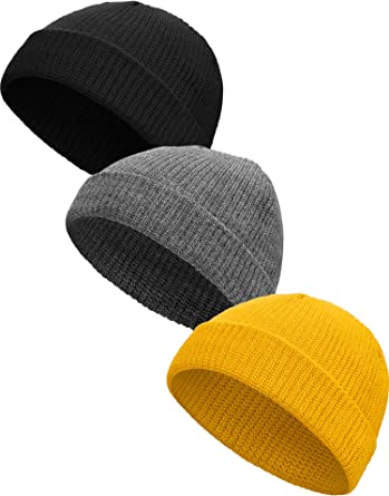 Satinior 3 Pieces Winter Trawler Beanie Watch Hat Knit Cuff Beanie Roll Up Edge Skullcap Fisherman Beanie Black Yellow And Grey At Amazon Men S Clothing Store