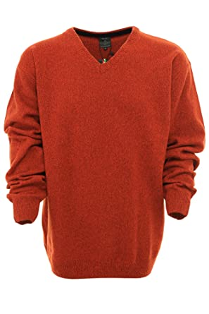 Kitaro Pullover Herren Langarm Lammwolle, Farbe orange Herrengrößen 3 XL 2e6fdaed41