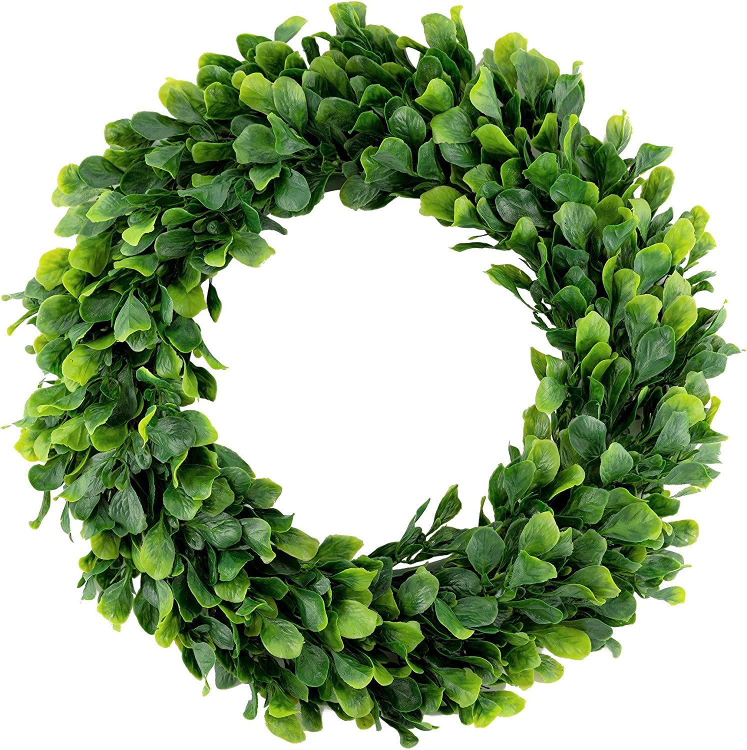 bhappy Boxwood Wreath 15 inch Artificial Greenery Wreath Indoor Front Door Home Hanging Wall Window Wedding Party Decor