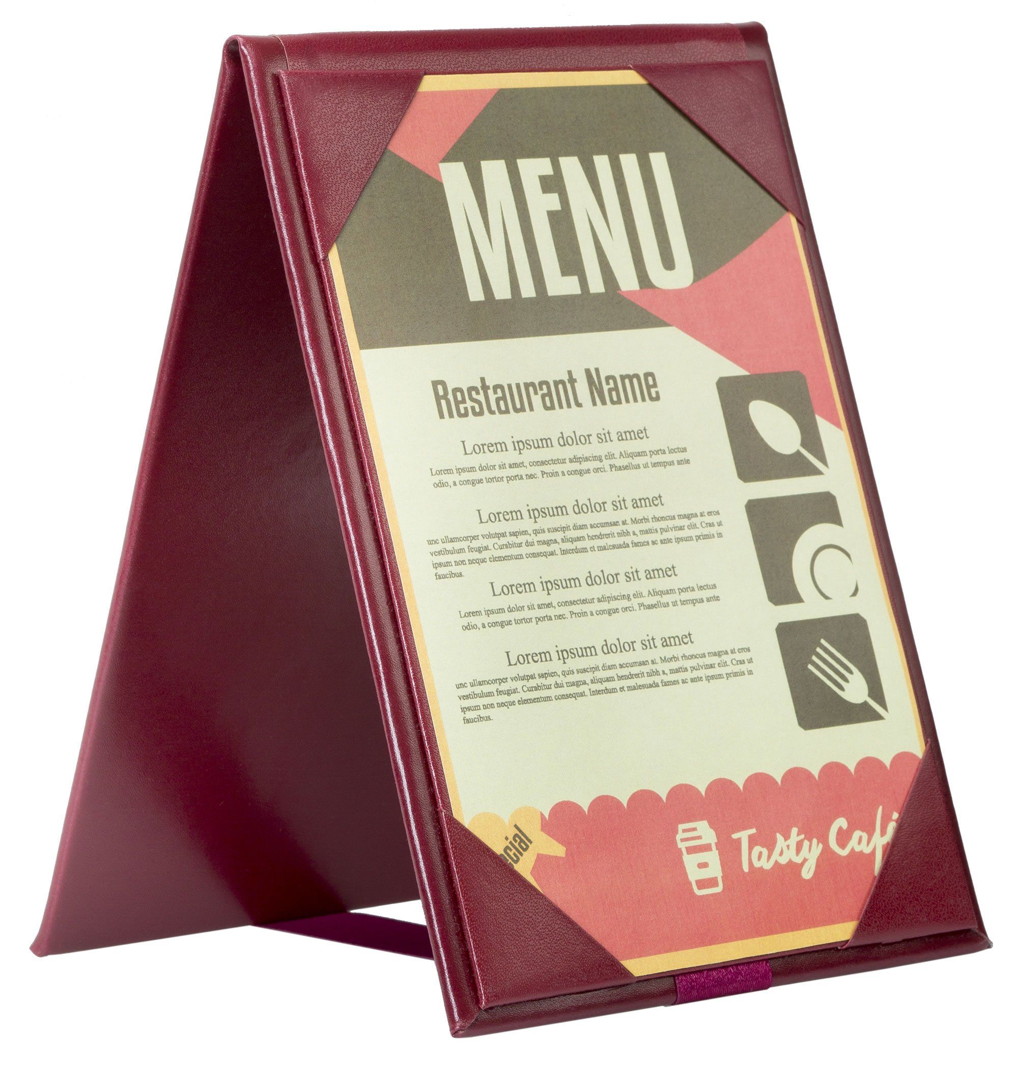 Pack of 10 • Better Quality Restaurant Table Tents #0207 BURGUNDY DOUBLE SIDED - TWO-VIEW - 5'' x 7'' Insert. Talk to your patrons throughout their meal. SEE MORE: Type MenuCoverMan in Amazon search.