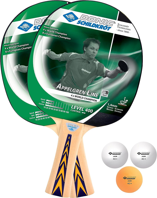 Donic-Schildkröt Set de Tenis de Mesa Appelgren 400, 2 Raquetas, Esponja 1.4 mm, 3 Pelotas, en un Blister, 788638