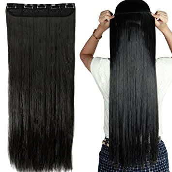 S noilite salon 26 straight natural black one piece 5 clips clip s noilite salon 26quot straight natural black one piece 5 clips clip in hair extensions pmusecretfo Images