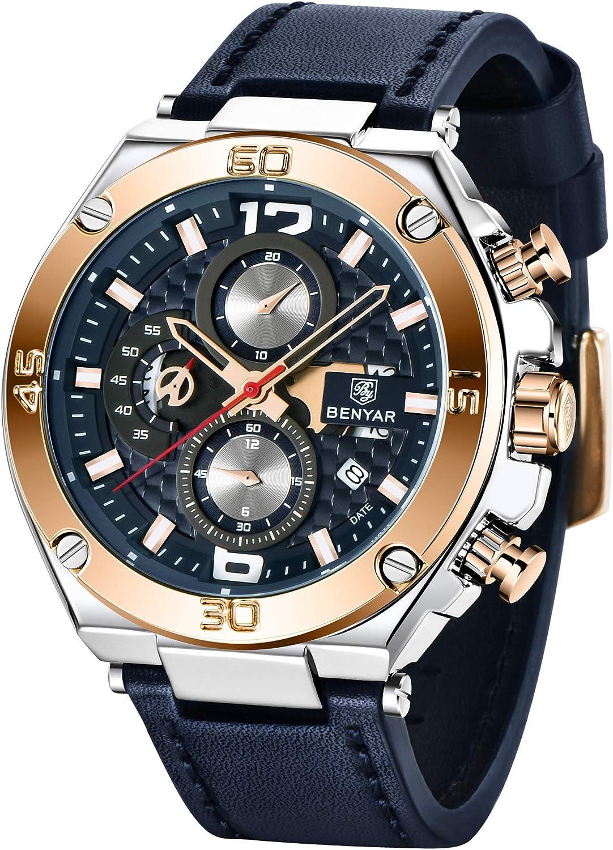 BENYAR Hombres Reloj cronógrafo de Cuarzo Fecha 3 ATM Impermeable Relojes Economía Deportes Cuero de diseño de Reloj de Pulsera para Hombres Padre…