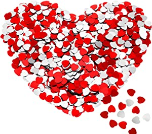 3000 Pieces Glitter Heart Paper Confetti Silver Red Table Confetti Heart Sequins Confetti for Wedding Engagement Decor Valentine's Day Table Scatter Party Decorations