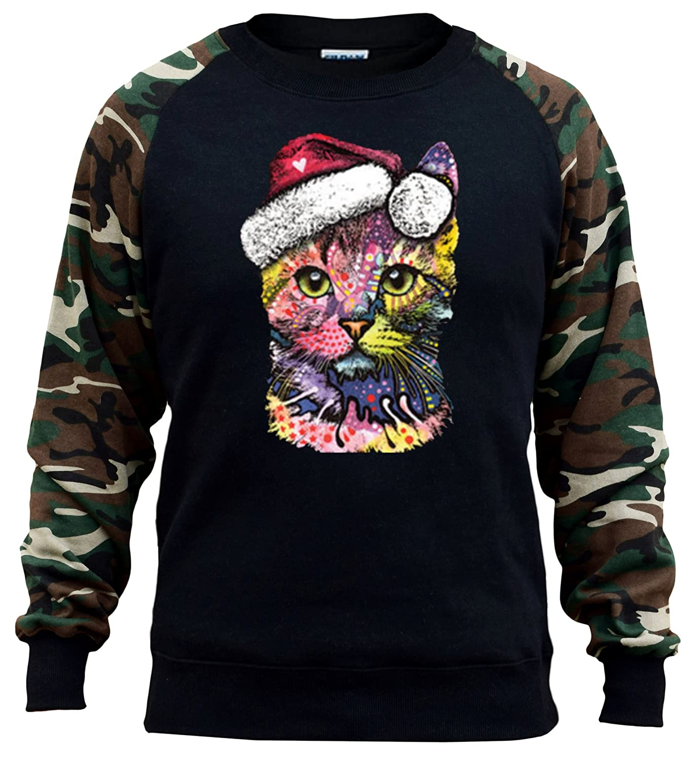 Mens Neon Christmas Cat Black//Camo Raglan Baseball Sweatshirt Black