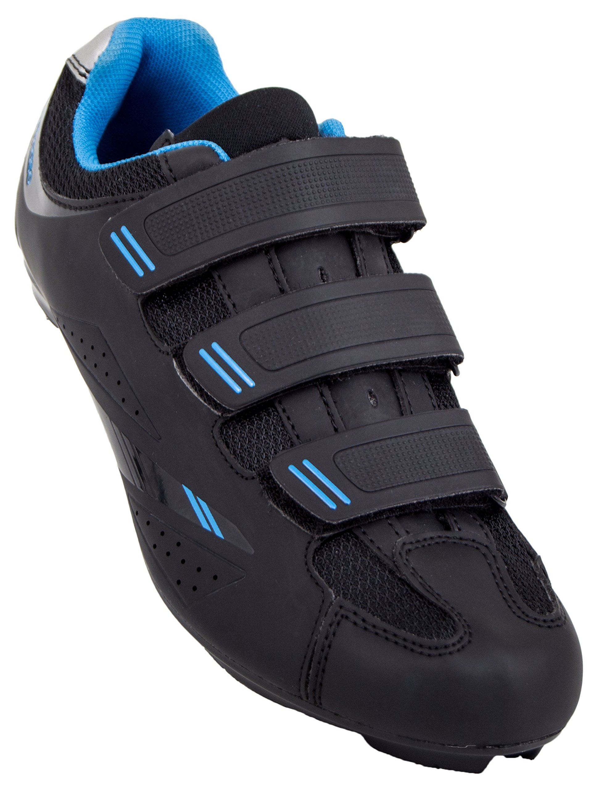 Tommaso Pista Women's Road Bike Cycling Spin Shoe Dual Cleat Compatibility- Black/Blue - 38