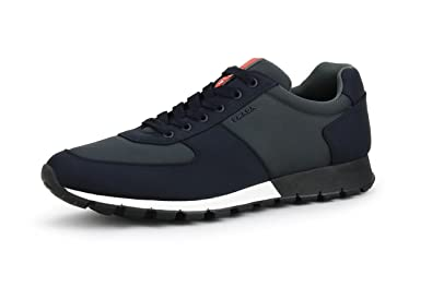 0ab1bb6ba82057 Prada Men's Nylon Tech Low-top Trainer Sneaker, Blue-Anthracite 4E2942 (11