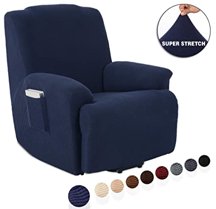 Awesome Tianshu Stretch Recliner Covers Recliner Chair Slipcovers 1 Piece Furniture Cover For Recliner Couch Cover With Pocket Recliner Navy Blue Creativecarmelina Interior Chair Design Creativecarmelinacom