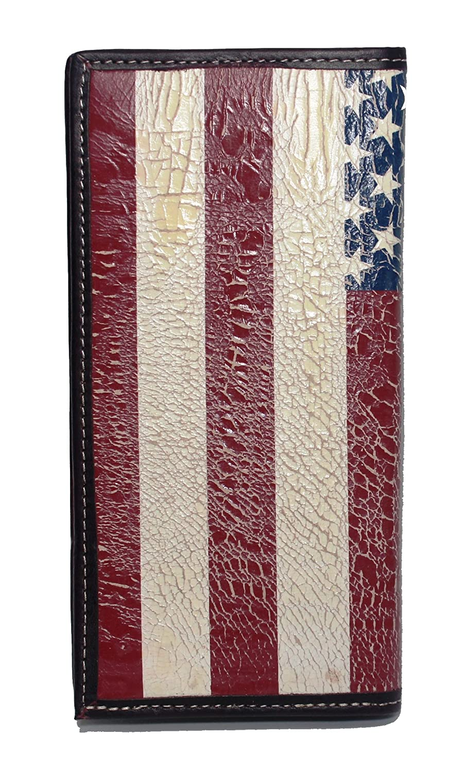 Custom Longhorn Star American Flag Long Wallet with Distressed United States Flag