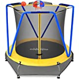 Zupapa 54 inch 66inch Small Trampoline with bascketball for Kids Children Mini Toddler Baby Trampolines with Enclosure Net Ul