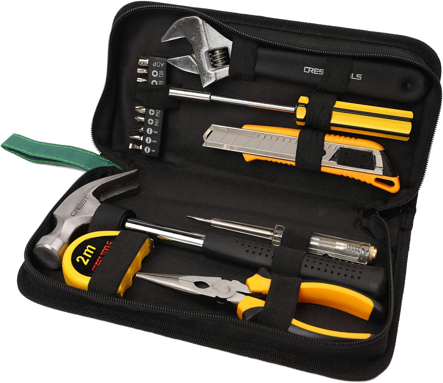 Amenvtool 18 Pcs Tool Set-Household tool with Easy Carrying Pouch - Durable Manual Multifunctional Tool Kit