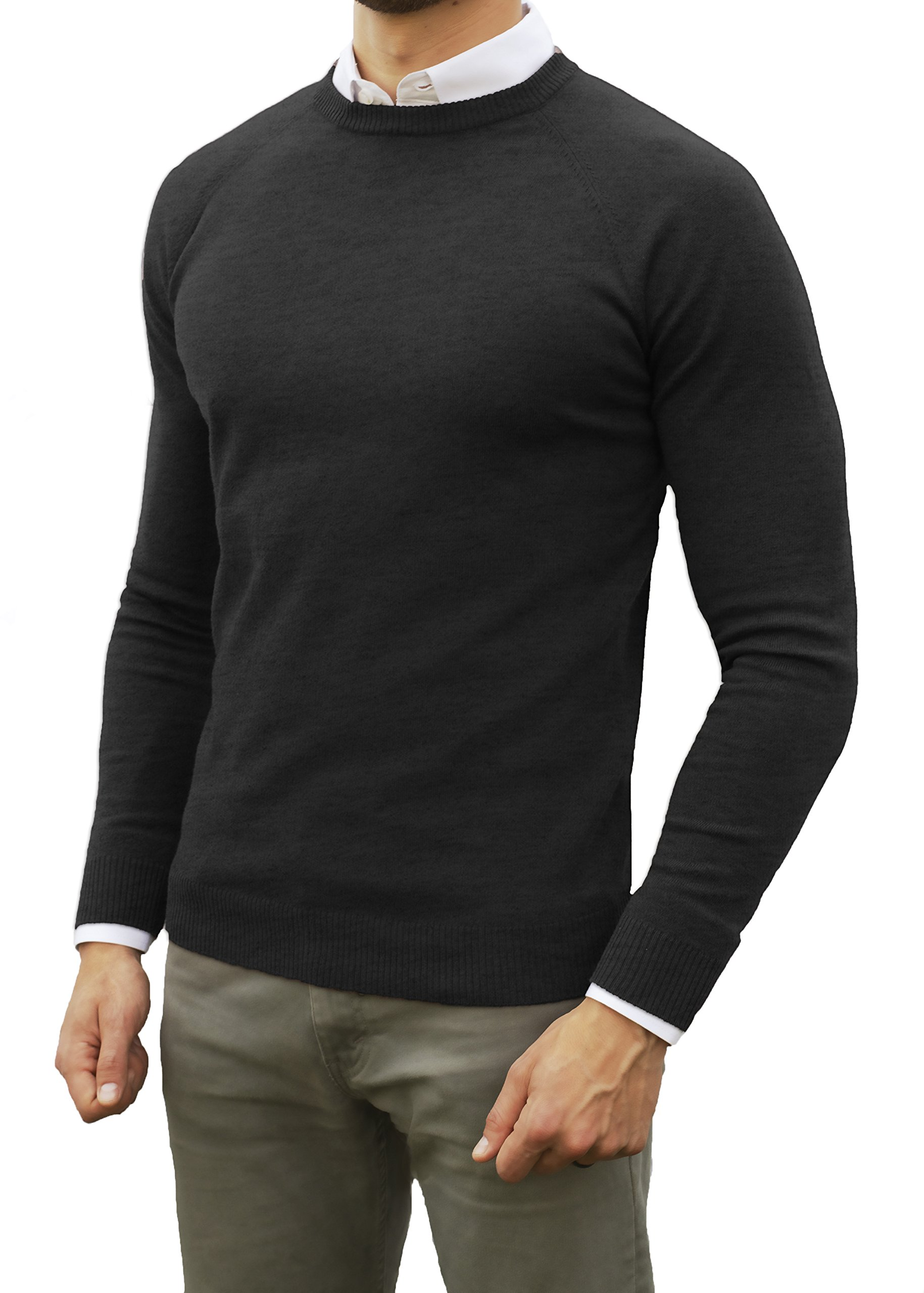 Comfortably Collared Men's Perfect Slim Fit Light Weight Crew Neck Pullover Sweater (Large, Black)