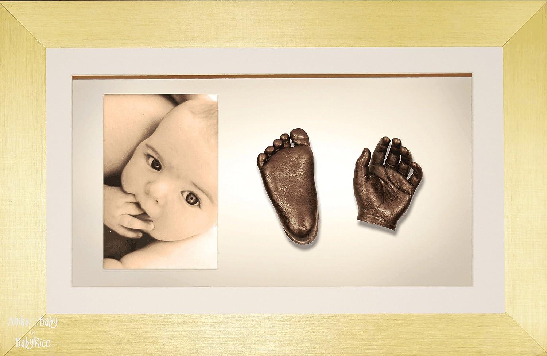 BabyRice 3D-Guss-Set für Baby Bronze Paint mit Gold Display Foto Rahmen