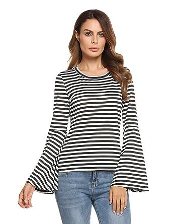 e8ad6e3c6 Zeagoo Women Striped Long Sleeve T-shirts Tunic Tops for Leggings(Black  White S