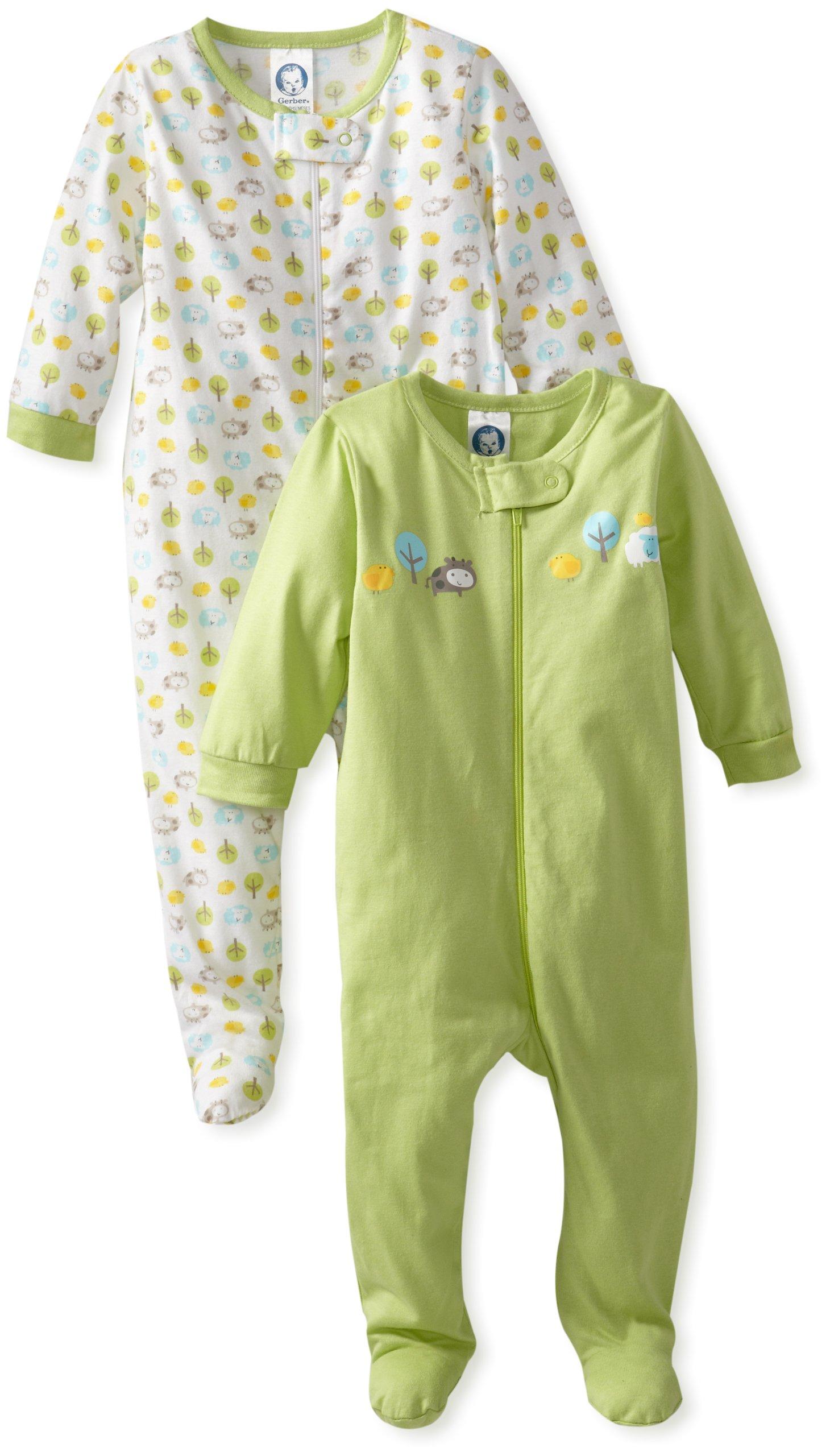 Gerber Unisex Baby 2 Pack Zip Front Sleep 'N Play, Animals Green, 3-6 Months