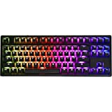 iKBC MF87 V.2 RGB TKL Mechanical Keyboard with Cherry MX Blue Switch, Black Aluminum Case and Black PBT Double Shot Keycap