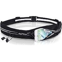 AGPTEK Cinturón con Bandas Reflectantes para Correr, Riñoneras Mujer y Hombre, Negro
