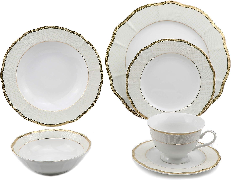 Lorren Home Trends Flower Shape Dinnerware Set, Gold
