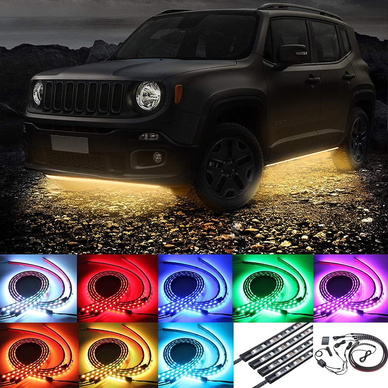 Justech 4 X 8 Colori Luci Strisce Sotto Auto Lampade Neon Decorazione Luce Striscia RGB Illuminazione Lampada dellAtmosfera con Controllo Musicale e Telecomando Wireless per Auto Paraurti Auto Fondo