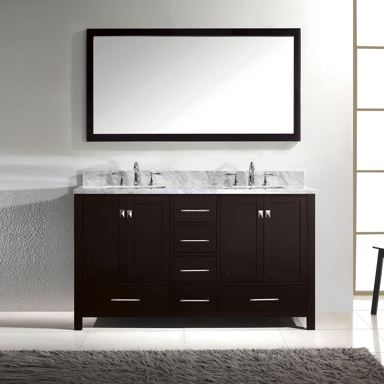 Virtu USA GD-50060-WMSQ-ES Caroline Avenue 60-Inch Bathroom Vanity ...
