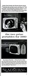 """ORIGINAL *PRINT AD* 1959 ADMIRAL THIN MAN TV & SON-R REMOTE CONTROL """" The Two Prize Portables for 1960 """" VINTAGE LONG NON-COLOR AD - USA - NICE !!"""