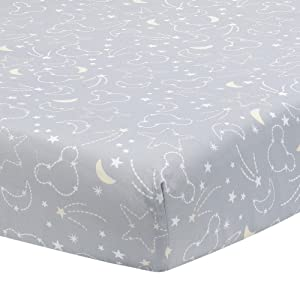 Disney Baby Mickey Mouse Gray/Yellow Celestial Fitted Crib Sheet by Lambs & Ivy