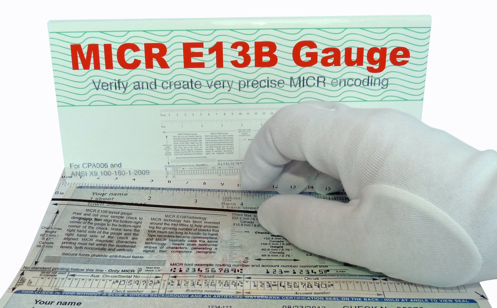MICR Check Position Gauge Film PLUS : Precise and convenient E13B MICR Gauge for all types of checks, cut, rolls or 3 per page.