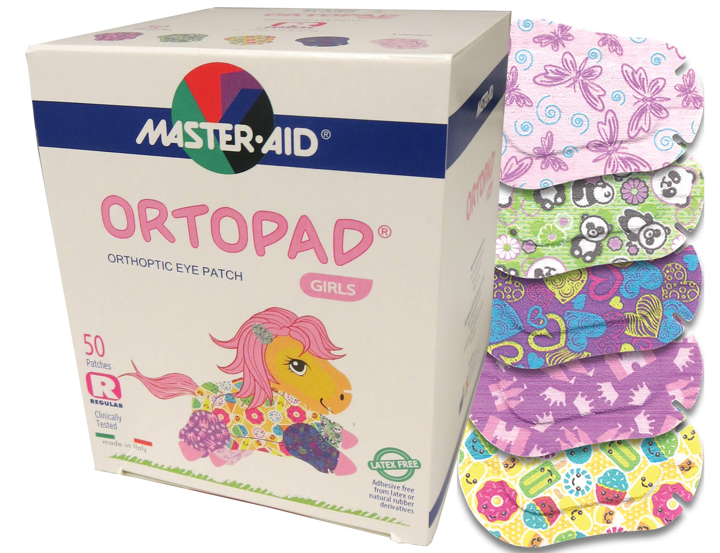 Ortopad Bamboo for Girls, Adhesive Eye Patches, Softer Material and New Designs (50 Per Box) (Regular Size)
