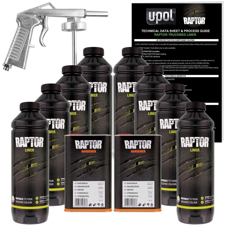 U-POL Raptor Tintable Urethane Spray-On Truck Bed Liner Kit w/ FREE Spray Gun, 8 Liters by U-Pol (Image #1)