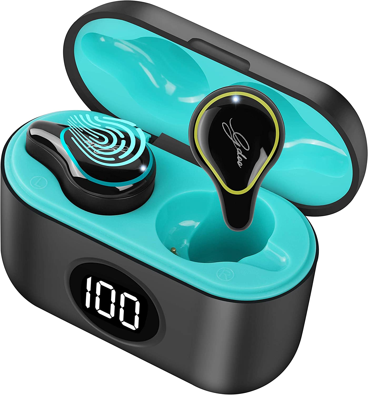Auriculares Bluetooth Deportivos, Auriculares Inalámbricos Bluetooth 5.0 Mini Twins Estéreo In-Ear con Caja de Carga Portátil, IPX7 Impermeables Micrófono Incorporado, Control Táctil, para iOS Android