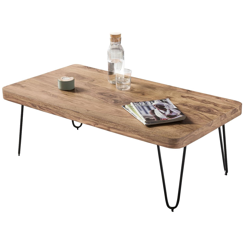 WOHNLING Couchtisch Massiv-Holz Sheesham 115 cm breit Wohnzimmer-Tisch Wohnzimmer-Tisch Wohnzimmer-Tisch Design Metallbeine Landhaus-Stil Beistelltisch Natur-Produkt Wohnzimmermöbel Unikat modern Massivholzmöbel Echtholz rechteckig 3fb96b