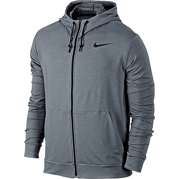 Nike Men's Dri FIT Fleece Full Zip Training Hoodie, Cool GreyBlack MD