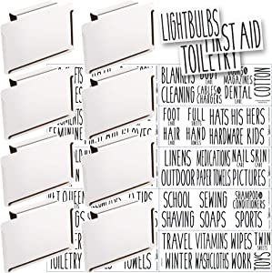 Talented Kitchen 8 White Clip Label Holders with 70 Household Labels. Home Organization for Baskets & Bins. Removable Metal Clips. 70 All Caps Black Home & Storage Stickers (White Clip/Black Label)