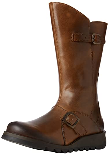 8c17e315963 Amazon.com | FLY London Women's Mes 2 Wedge Leather Mid Tall Boot ...