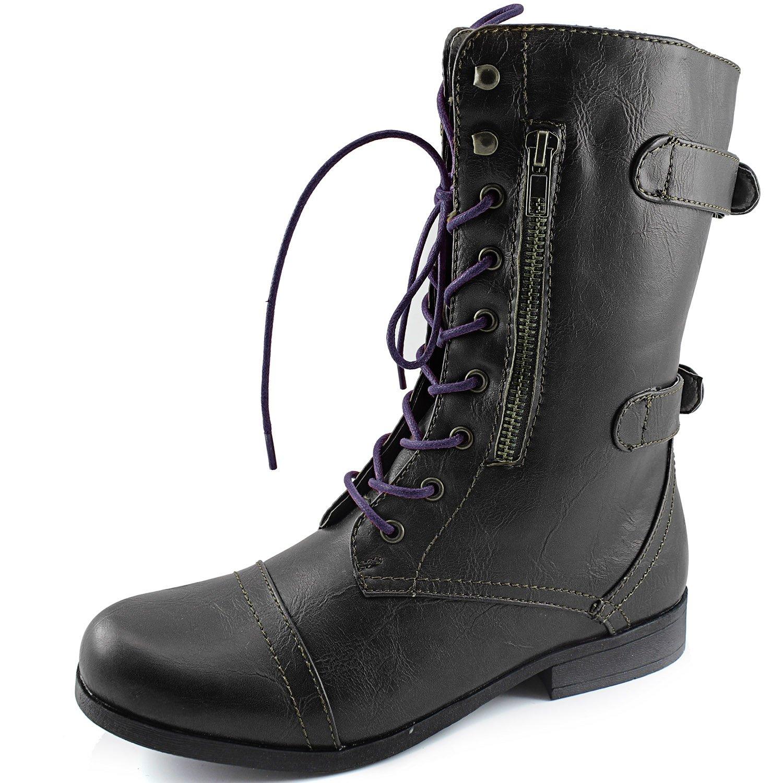 Women's Dailyshoes Evan-10 Ankle Zipper Strap Military Combat Boots, 10 B(M) US