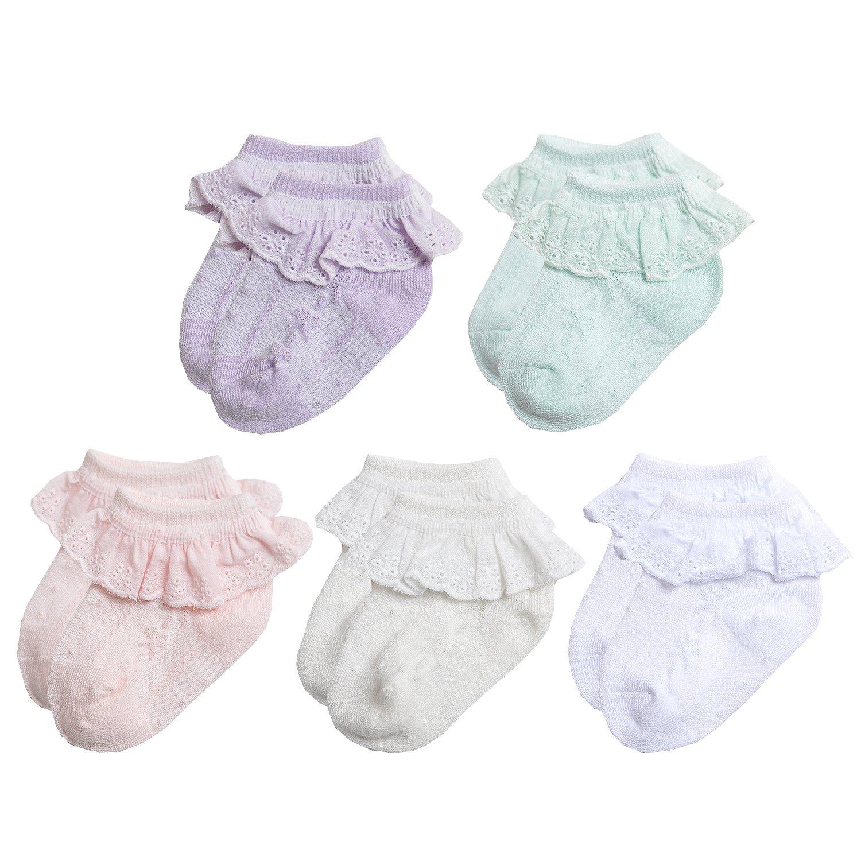 NovForth Baby Girls Eyelet Frilly Lace Socks