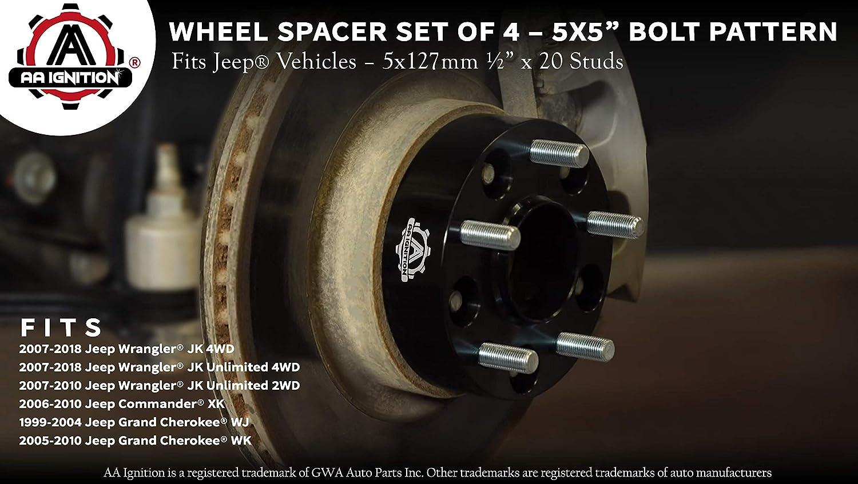 99-10 Grand Cherokee 05-10 Commander. Thread-Locking Adhensives for 07-18 Wrangler JK JKU 1.5 inch 5x127 Wheel spacers 71.5 hub core 1//2 Thread Pitch for JK JKU XK WJ WK Rying 5x5 Wheel spacers