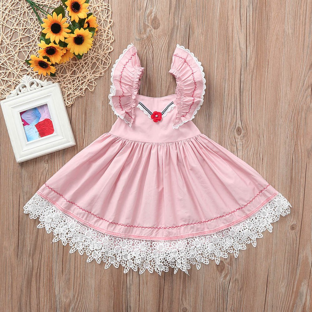 Gufenban Baby Girl Pageant Flower Girl Dress Kids Fancy Wedding Bridesmaid Gown Formal Mini Princess Dresses (Pink, 5 Years) by Gufenban (Image #3)