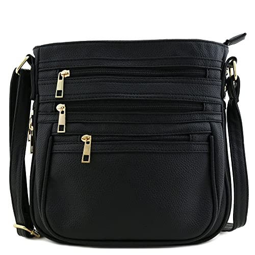 25c8c6e3670 Image Unavailable. Image not available for. Color  Multi Zipper Pocket  Expandable Crossbody Bag Black