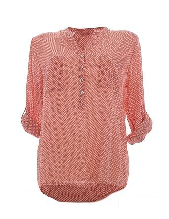 heiße Angebote neu kommen an vielfältig Stile Moda Italy Damen Bluse Tunika Longbluse mit Punkten Rauten Flowers Lässige  Bluse Fischerhemd Polka Dots